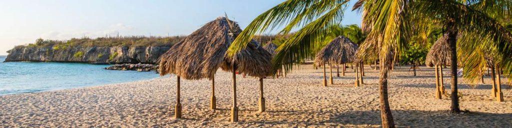 beschutting onder palmbladeren op Curacao