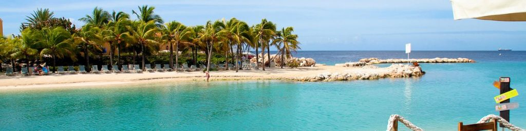 palmbomen op het strand van Curacao